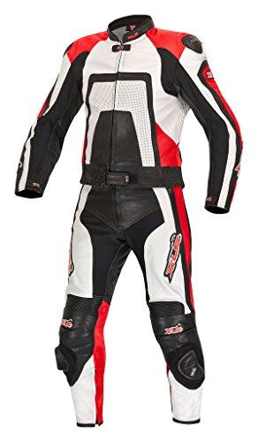 XLS Lederkombi in der Farbe Rot, schwarz und weiss